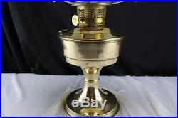 ALADDIN #23 Burner Brass Column Table Oil Lamp, LoxOn Chimney Hand Painted Shade