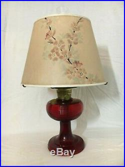 ALADDIN ANTIQUE kerosene OIL LAMP B-83 RUBY beta crystal RED BEEHIVE paper SHADE