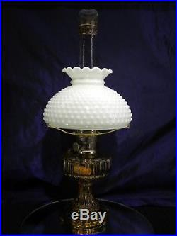 ALADDIN Amber CATHEDRAL Oil Lamp Lox-On Chimney Model B Burner and Shade