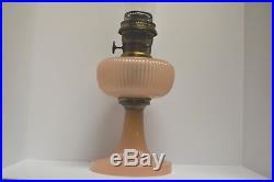 ALADDIN B-87 VERTIQUE MOONSTONE ROSE OIL LAMP Nu-Type B Burner, Lox On Chimney