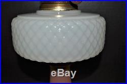 ALADDIN B-91 MOONSTONE WHITE & ROSE QUILT LAMP Type B Burner Lox On Chimney 1937