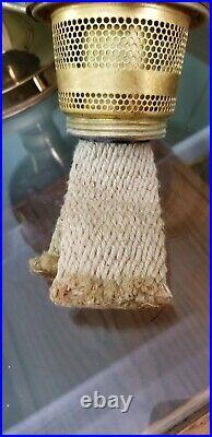 ALADDIN BRASS KEROSENE LAMP 23 BURNER with 2 NEW MANTLES AND ELECTRIC BURNER