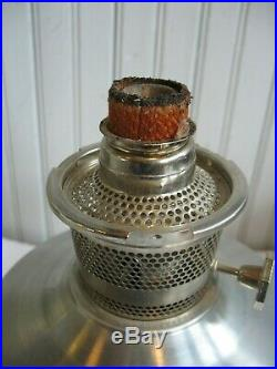 ALADDIN Brushed Aluminum Metal Kerosene Table Oil Lamp with Model 23 Burner