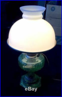 ALADDIN CATHEDRAL Green Glass Kerosene Oil Table Lamp Electrified
