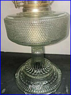 ALADDIN COLONIAL OIL LAMP CLEAR GLASS, COMPLETE WithCHIMNEY, SHADE & BURNER