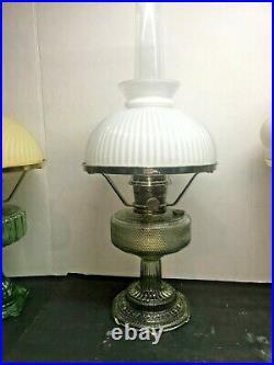 ALADDIN COLONIAL OIL LAMP VASELINE COLOR, COMPLETE WithCHIMNEY, SHADE & BURNER