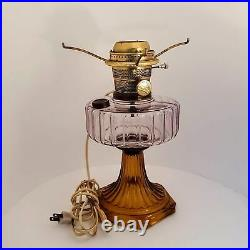ALADDIN CORINTHIAN AMBER & CLEAR ELECTRIFIED KEROSENE OIL LAMP 12-1/4 Lot A