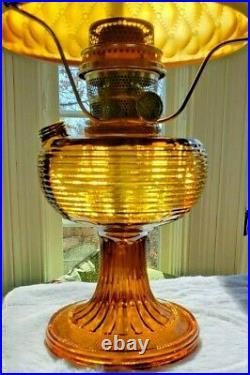 ALADDIN DARK AMBER BEEHIVE LAMP B-82D (1937-38) LAMP WithSATIN DIAMOND QUILT SHADE