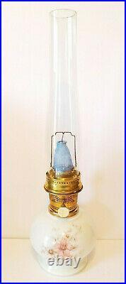 ALADDIN Incandescent FLORAL GLASS OIL LAMP Loxon Mantle CHIMNEY Model 23 BURNER