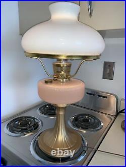 ALADDIN KEROSENE/OIL QUEEN pink rose MOONSTONE LAMP Electrified SUPER NICE