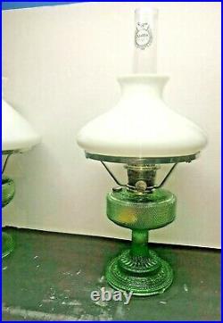 ALADDIN MODEL 105 Green Crystal Colonial KEROSENE OIL LAMP WithSHADE & CHIMNEY