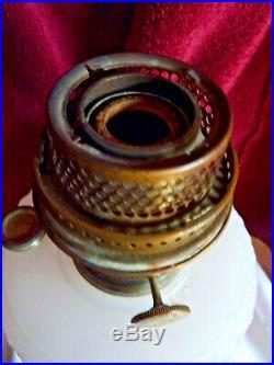 ALADDIN Mantle Lamp- DIAMOND QUILT White Moonstone Bowl With Rose Base + CHIMNEY