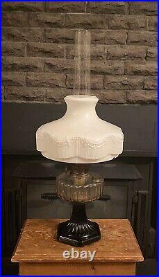 ALADDIN Model B 104 Black Corinthian Oil Milk Glass Lincoln Drape Lamp Shade