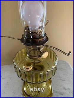 ALADDIN Model B Corinthian AMBER GLASS Oil Lamp Font MADE IN 1935-36 Electrified