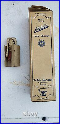 ALADDIN NO9 HANGING KEROSENE LAMP, SPARE WICK & CHIMNEY BOX MADE IN CANADA 1920s