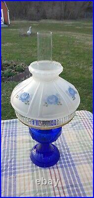 ALADDIN Oil LAMP LINCOLN DRAPE 1999 BLUE with SHADE Beautiful
