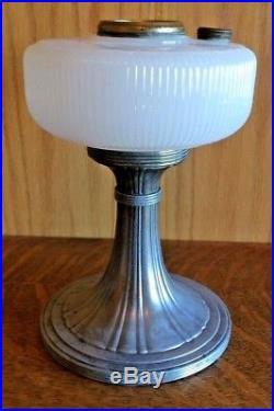ALADDIN QUEEN WHITE MOONSTONE B-96 Scallop Bowl Silver Base Lamp kerosene oil