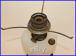 ALADDIN QUILT BLACK & MOONSTONE LAMP WithNU-TYPE B BURNER & CHIMNEY