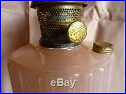 ALADDIN -ROSE MOONSTONE MAJESTIC WITH METAL BASE- Kerosene MANTLE LAMP +CHIMNEY