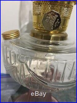 ALADDIN TALL LINCOLN DRAPE Pink And Clear Table Lamp kerosene oil X Mantels NWOT