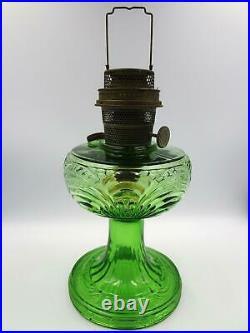 ALADDIN WASHINGTON DRAPE Green Glass Oil Kerosene Lamp Model B40 Round Base 1939