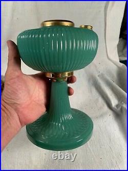 ALADDIN style Green Moonstone Ribbed Moonstone Vertique Kerosene Oil Lamp Base