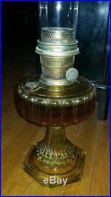 ANTIQUE ALADDIN AMBER Column Pedestal OIL LAMP Nu-Type-MODEL B BURNER kerosene