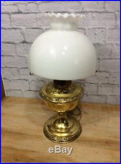 ANTIQUE ALADDIN BRASS KEROSENE oil TABLE LAMP SHADE MODEL NO. 8 ELECTRIFIED