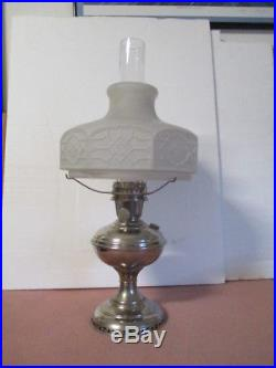 ANTIQUE ALADDIN MODEL 6 NICKEL FINISH PARLOR LAMP WithORIGINAL SHADE-COMPLETE