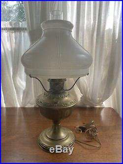 ANTIQUE ALADDIN NO. 7 BRASS OIL LAMPELECTRIFIED With Chimney & Shade