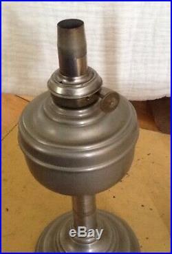 ANTIQUE ALADDIN OLD NICKEL/PEWTER KEROSENE OIL 1872 Burner Table Lamp