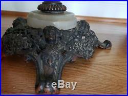 ANTIQUE NU-TYPE ALADDIN MODEL B OIL/KEROSENE TABLE LAMP MARBLE WithORNATE FACES