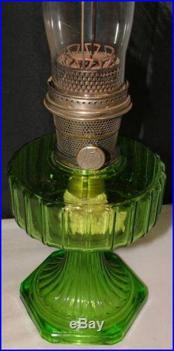 Antique Rare Aladdin Nu Type Model B Green Glass Cathedral