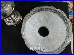 ATG RAYO Victorian Nickel GWTW Kerosene Oil Table Lamp Aladdin White Glass Shade