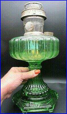Aladdin 1934 Green Cathedral Kerosene Oil Lamp, Model B Burner Six Footed 12.25