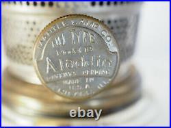Aladdin 1935 Clear Font Black foot Corinthian Oil Lamp Model B Burner chimney B