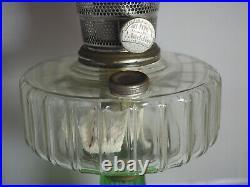 Aladdin 1935 Clear Font Green foot Corinthian Oil Lamp Model B Burner chimney B