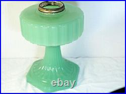 Aladdin 1935 Green Moonstone Corinthian Oil Lamp Model B Burner chimney B-115