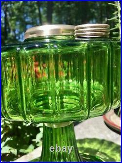 Aladdin 1936 Model B-102 Green Beta Crystal Kerosene Corinthian Lamp, Oil Lamp