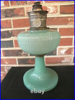 Aladdin 1938 Model B-92 Jade Green Moonstone Vertique Kerosene Lamp, Oil Lamp