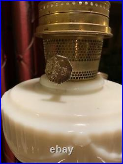 Aladdin 1940 Ivory Alacite Tall Lincoln Drape Model B-75Kerosene Lamp Oil Lamp