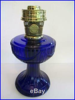 Aladdin 1976 Cobalt Blue Lincoln Drape Font Base, Burner, Wick & Gallery