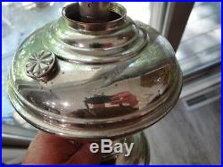 Aladdin #6 Nickel Chrome Kerosen Lamp w Original 301 Shade Vtg Antique