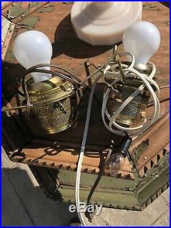 Aladdin Alacite Lincoln Drape Kerosene Oil Table Lamp With Meadowlark Glass Shade