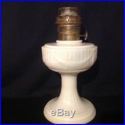 Aladdin Alacite short Lincoln drape kerosene oil lamp brass B burner excellent