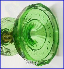 Aladdin B-48 Green Crystal Washington Drape Bell Stem Kerosene Lamp with Burner