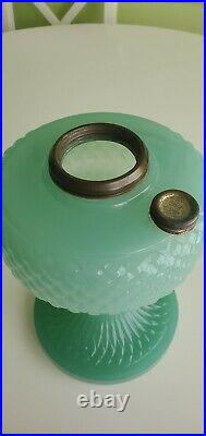 Aladdin B-86 Jade Green Moonstone Diamond Quilt Glass Lamp Font only