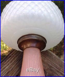 Aladdin B 91 Diamond Quilt Mantle Oil Lamp White & Rose Moonstone
