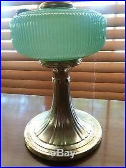 Aladdin B-97 Queen Oil Lamp Green Moonstone 1937-39