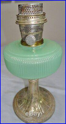 Aladdin B97 Queen Green Moonstone Kerosene Oil Lamp Model B Burner Jadeite Vtg